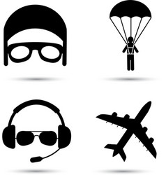 Skydiver on parachute pilot airplane silhouette vector