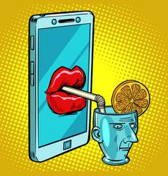 smartphone drinks human brain vector image