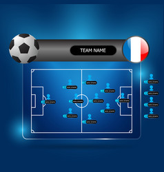 Soccer team line up board vector