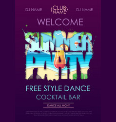 summer disco party typography poster with beach vector image