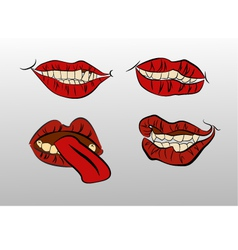 tattoo Collection mouths with lips vector image