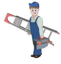 The workman standing with ladder and a toolbox vector