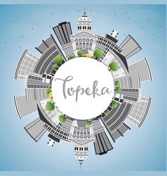 Topeka skyline with gray buildings blue sky vector