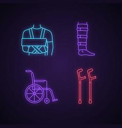 trauma treatment neon light icons set vector image