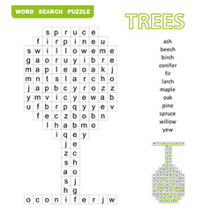 Trees themed word search puzzle fun education vector