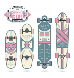 Trendy print on a longboard vector image