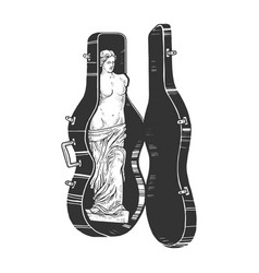 Venus de milo double bass case sketch vector
