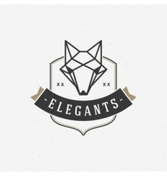 Vintage Fox face Line art logotype emblem symbol vector image