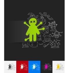 Voodoo Doll paper sticker with hand drawn elements vector