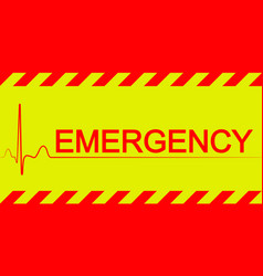 Warning banner emergencyred and yellow stripes vector