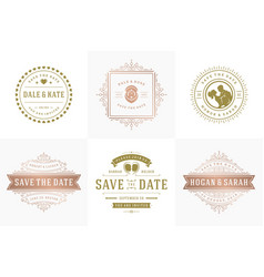 wedding invitations save date logos and badges vector image