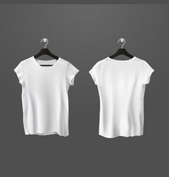 white crumpled t-shirts or unisex shirt on hanger vector image