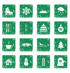 winter icons set grunge vector image