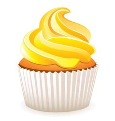 Yellow cupcake vector