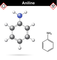 Aniline organic solvent molecular structure vector image vector image