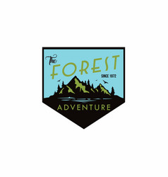 forest mountain adventure badge logo vector image