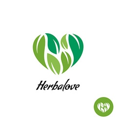 Heart logo with herbal green leaves Natural vector image