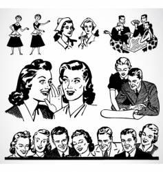 retro men and women vector image vector image