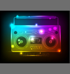 bright tape recorder with elements of colorful vector image