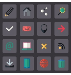 flat internet icons set vector image
