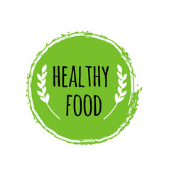 healthy food logo green circle brush vegan badge vector image