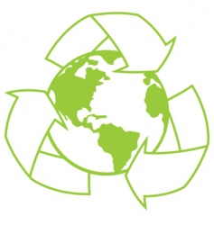 Planet earth with recycle symbol vector