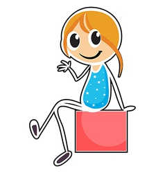 A girl sitting while waving her hand vector image vector image