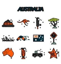 Australia flat icons set vector image
