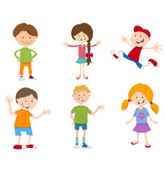 cartoon set of children vector image vector image