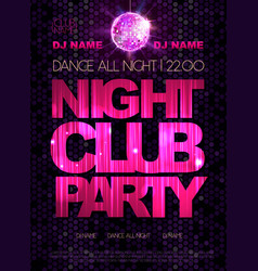 Disco background Disco poster Night club dance vector image