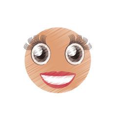 drawing girl emoticon image vector image vector image