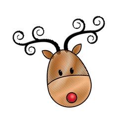 happy cartoon christmas reindeer character vector image