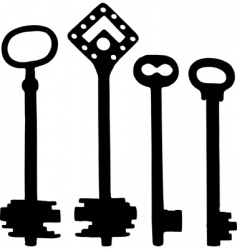 old fashioned skeleton keys vector image vector image