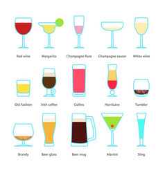 set of color drinks in stemware vector image