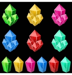 Set of colorful crystals vector image vector image