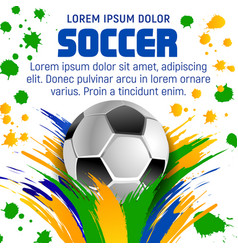 soccer ball poster for football sport tournament vector image vector image