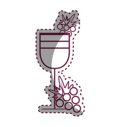 sticker wine glass with grape fruit vector image