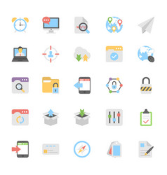 web design flat colored icons 6 vector image vector image