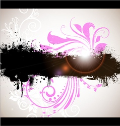 grunge banner with floral background vector image