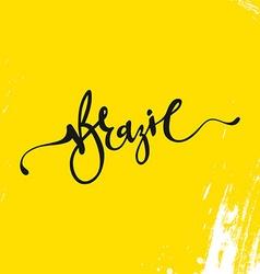 Inscription Brazil background yellow vector image
