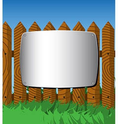 Metal plate on the fence vector image