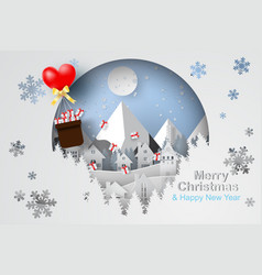 paper art and craft of merry christmas vector image vector image