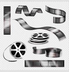 realistic photographic strips and film reels vector image