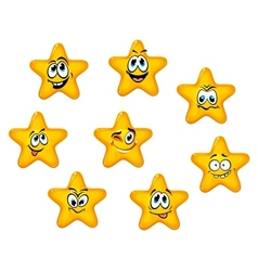 Yellow stars with emotional faces vector image vector image
