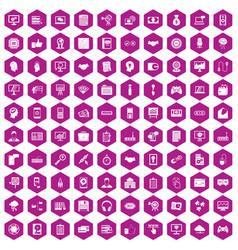 100 web development icons hexagon violet vector image