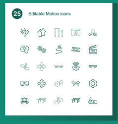 25 motion icons vector image