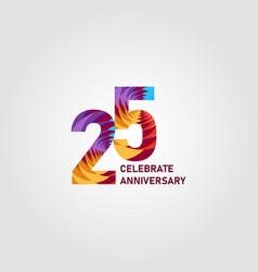 25 year anniversary elegant rainbow template vector