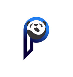 abstract panda letter p logo icon vector image
