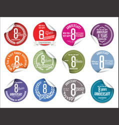 Anniversary modern tag and stickers collection 8 vector