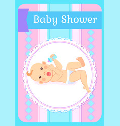 Baby shower greeting card newborn four or five vector
